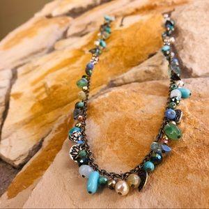 Long Blue Bangle Necklace